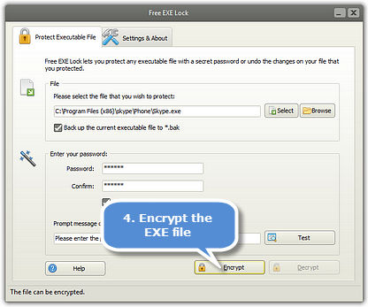 Encrypt the EXE File